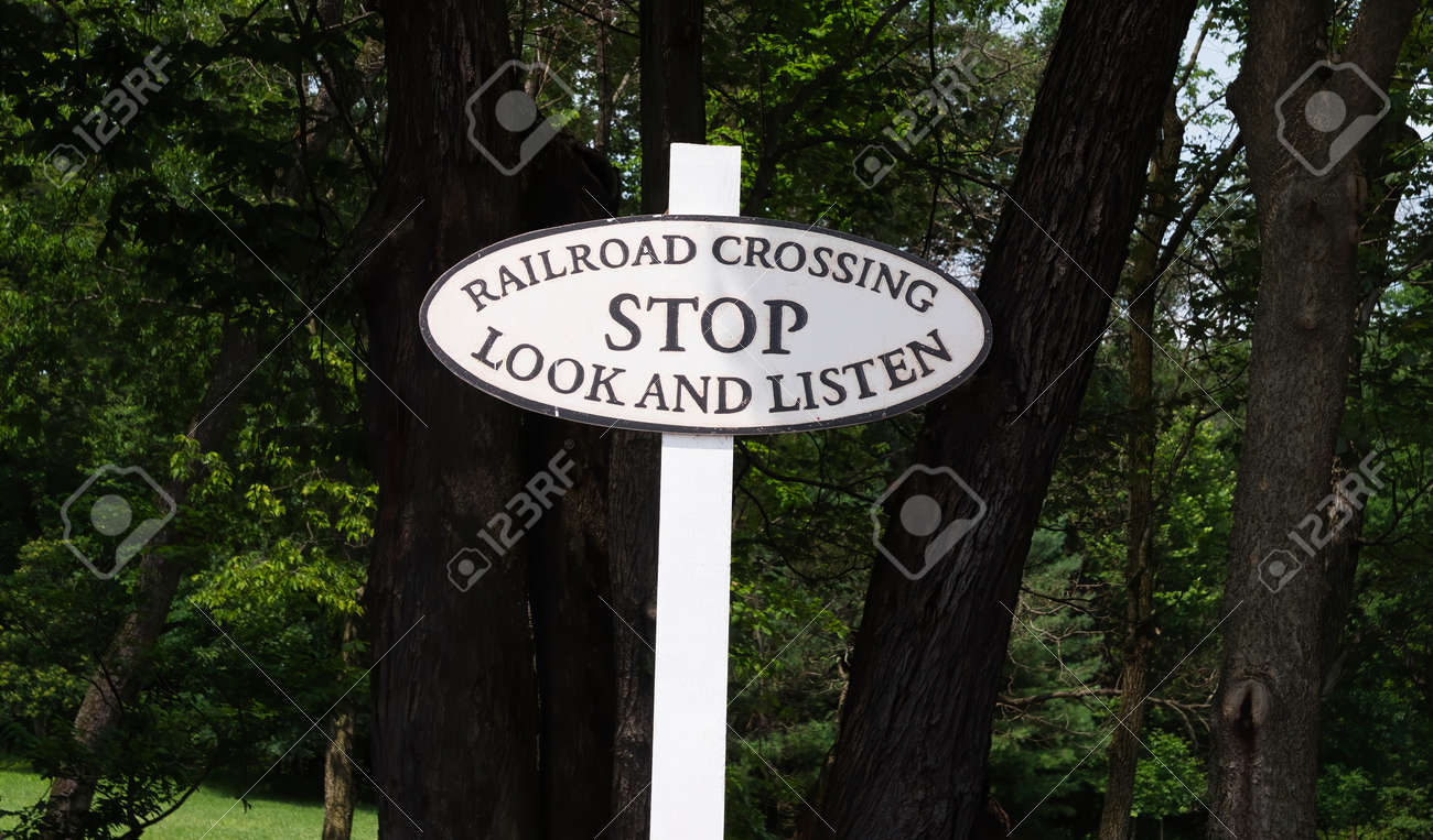 A Rail Road Stop Sign of Stop Look and Listen - 162658701