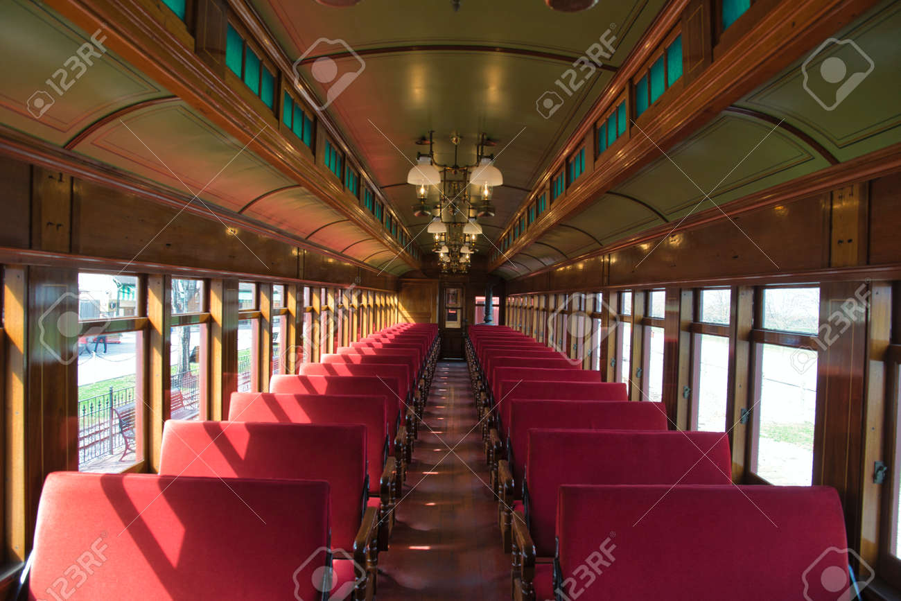 View of the Interior of a 1910s Passenger Coach Totally Restored - 165159428