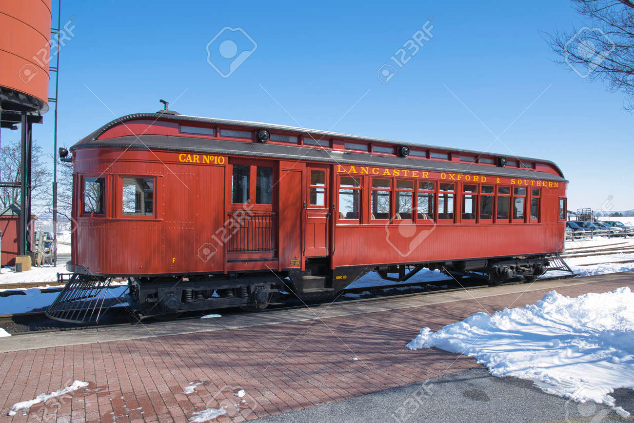 Strasburg, Pennsylvania, March 2018 - View of a 1910 Rail Car Totally Restored and Operational - 165167363