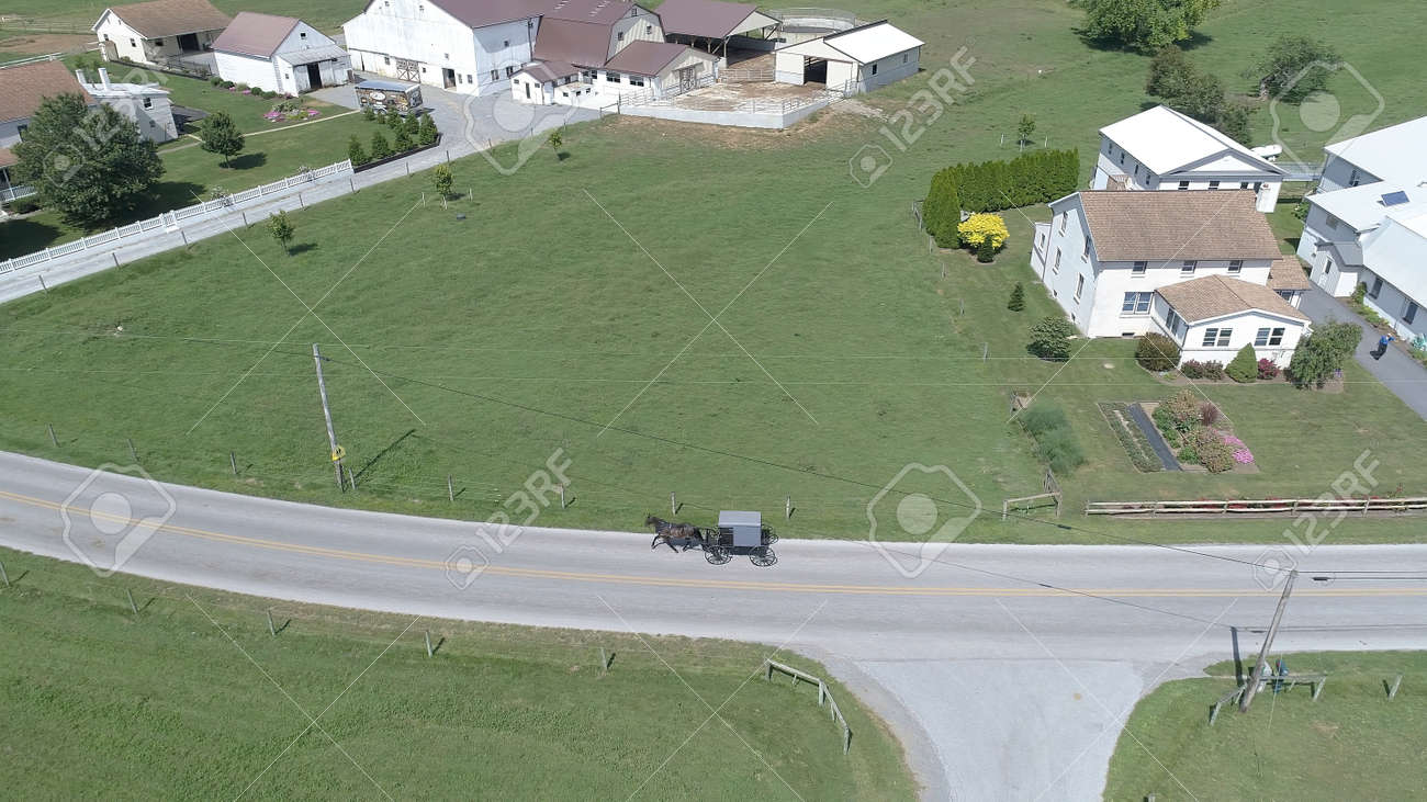 Aerial View of an Amish Horse and Buggy Trotting Along the Road Side - 165159323