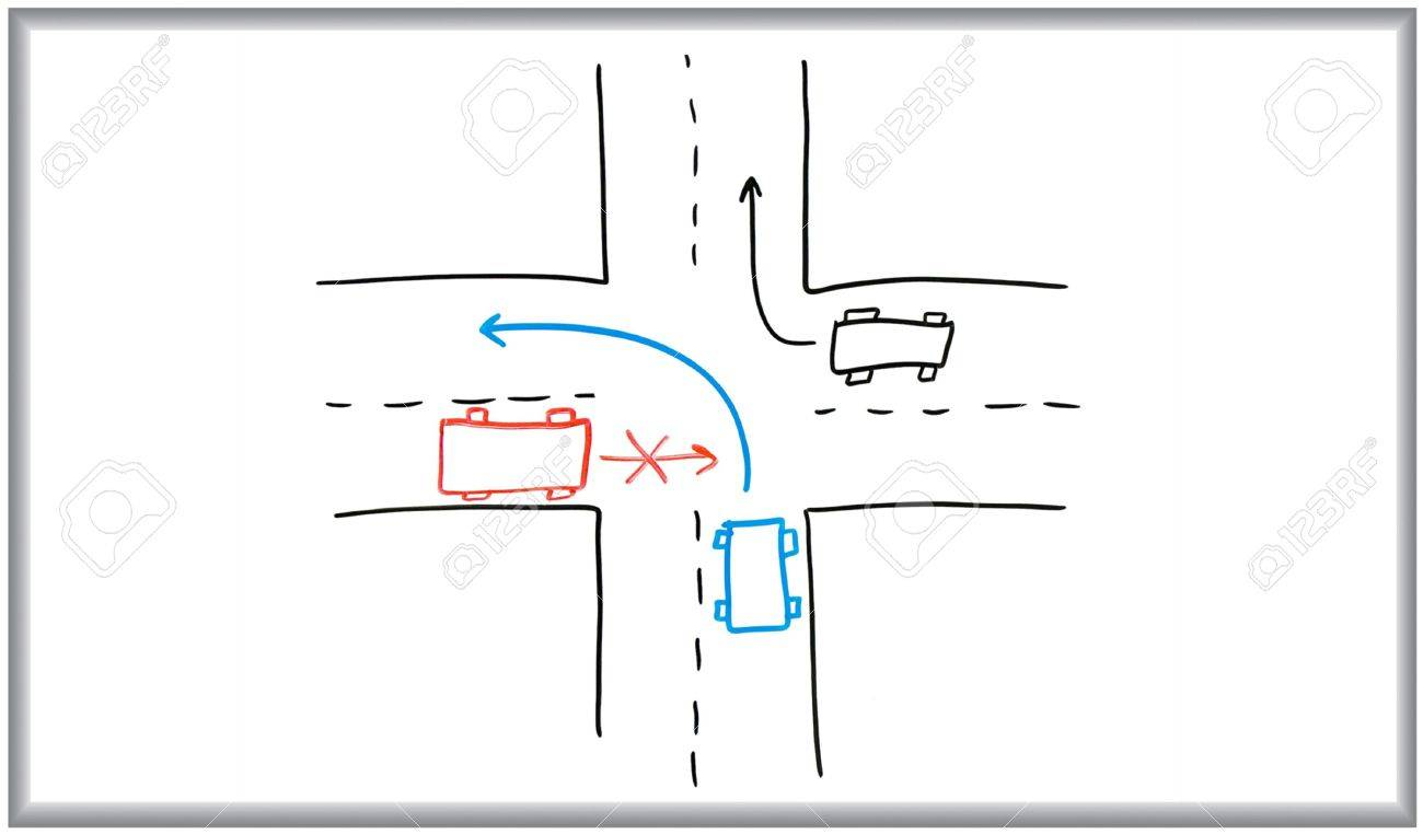 Whiteboard And Marker Drawing Of A Road Intersection. Stock Photo ...