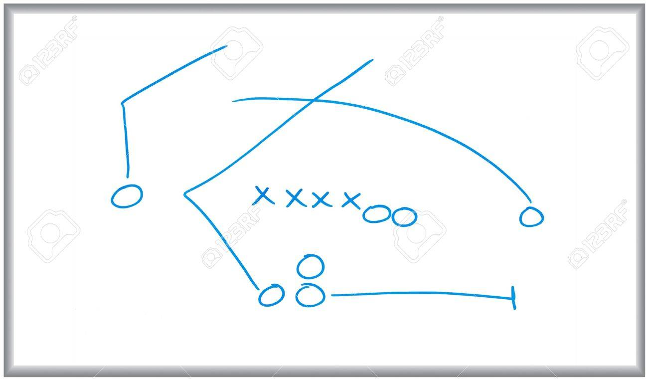 4596523 whiteboard and marker drawing of a sports play diagram whiteboard and marker drawing of a sports play diagram stock photo