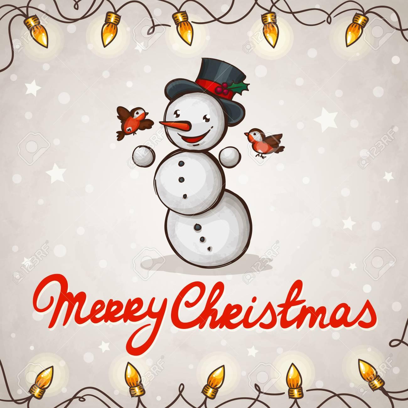 Snowman greeting card Merry Christmas Stock Vector - 16332627