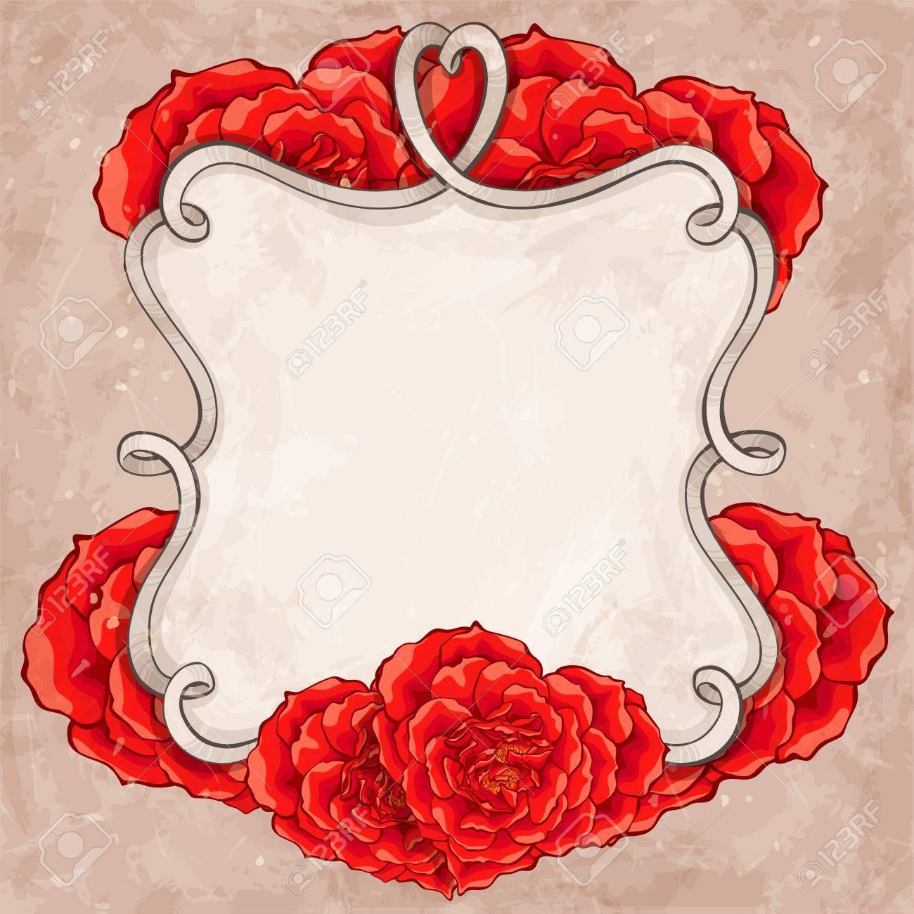 Red roses frame - 18305090