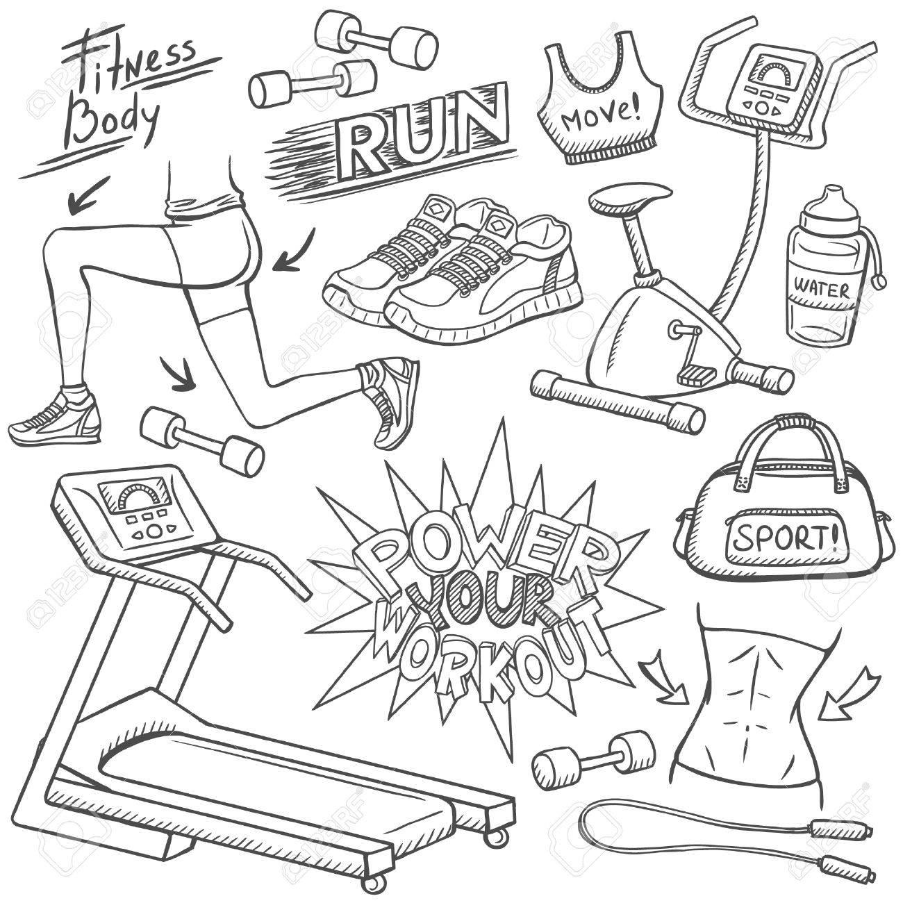 Gym doodles set - 30447826
