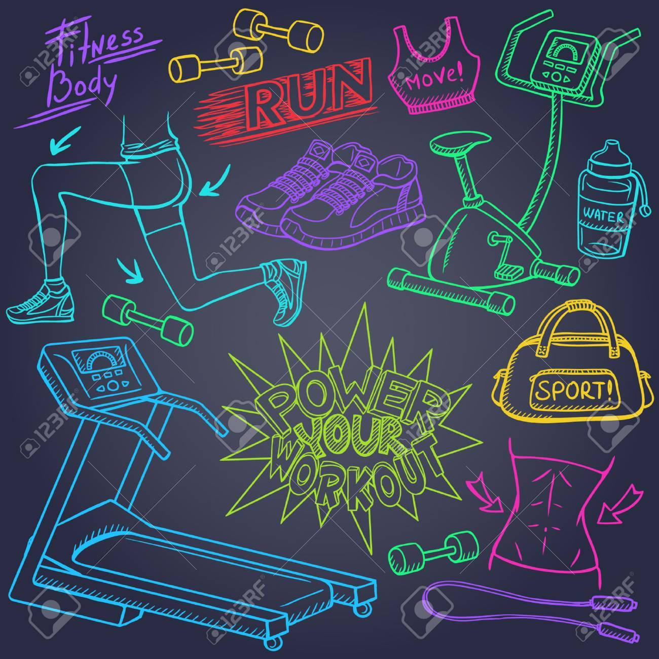 Gym and fitness doodles set - 37577421