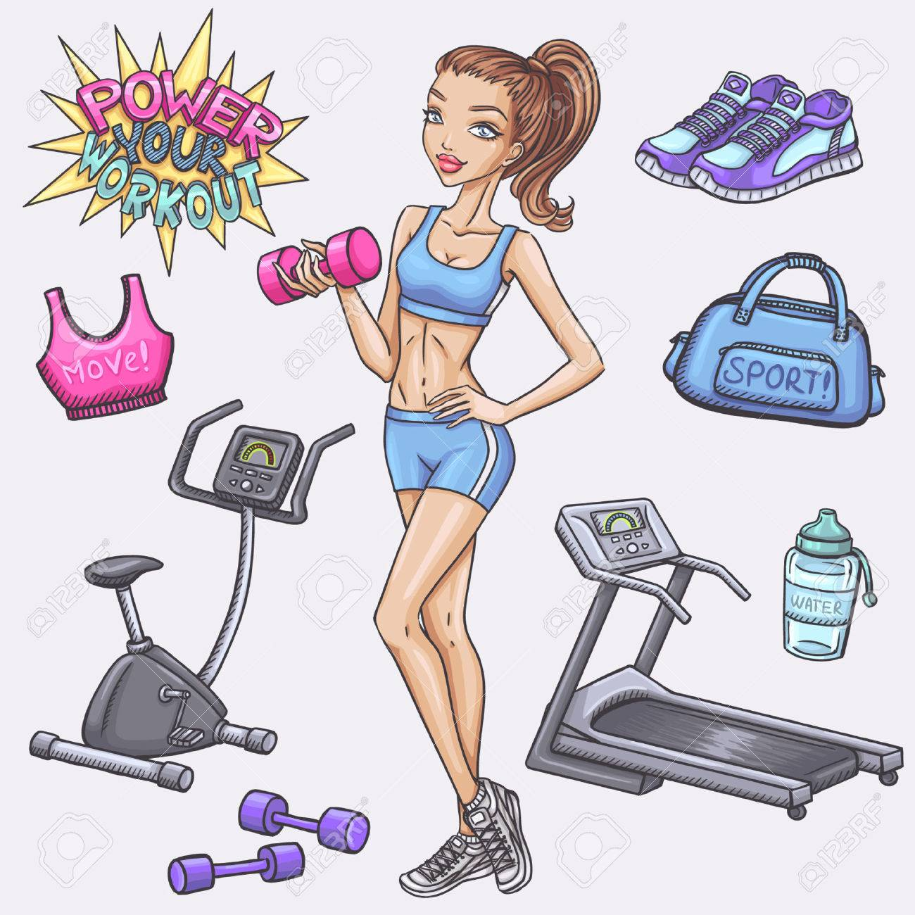 Fitness girl and gum and fitness doodles - 40277676