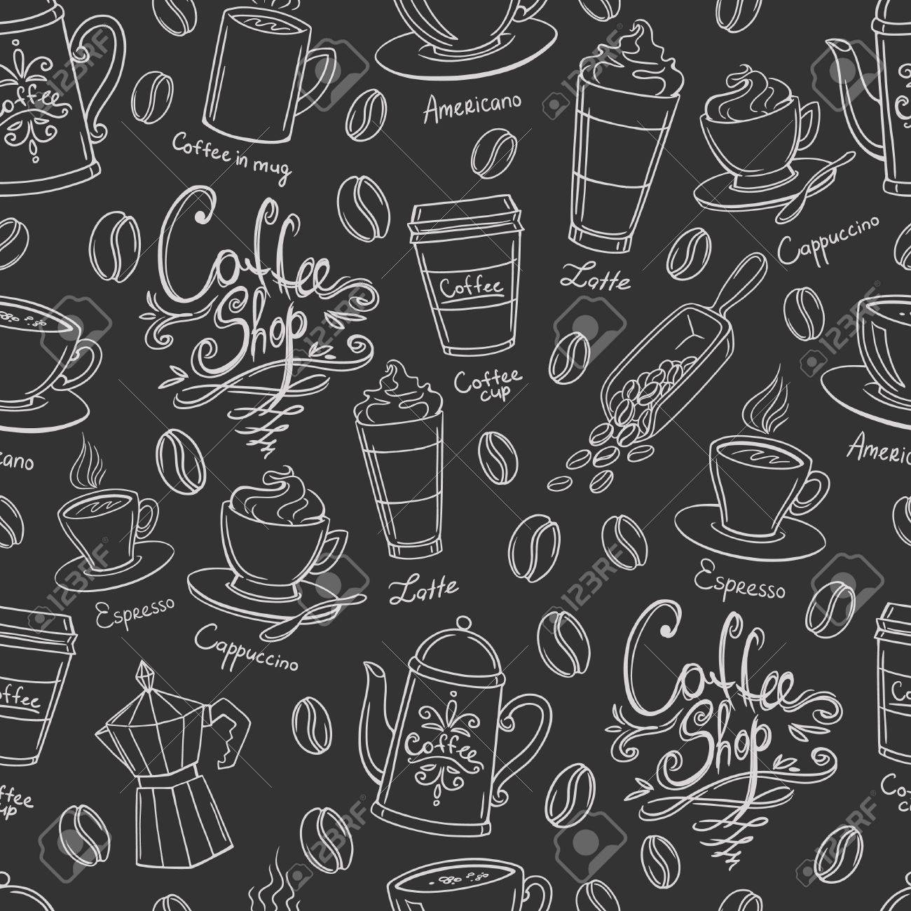 Coffee shop design seamless background. Stylized coffee pattern. Vector. - 43273568