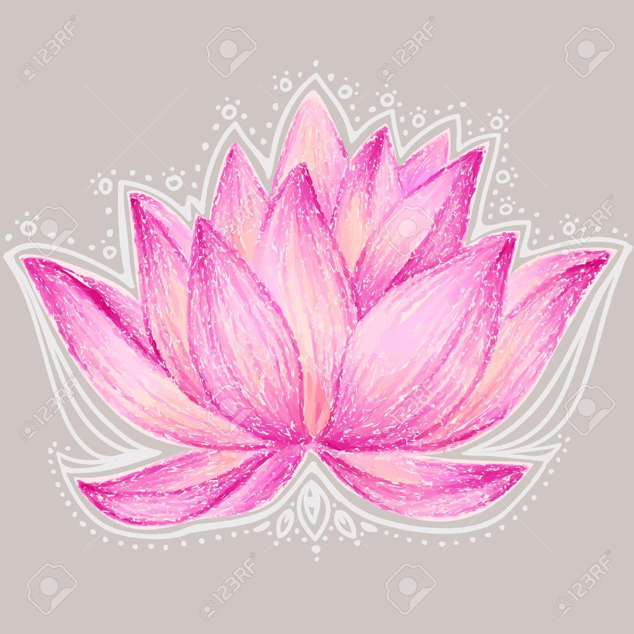 Ilustración Hermosa Flor De Loto Lotus Tarjeta De Diseño De La Flor