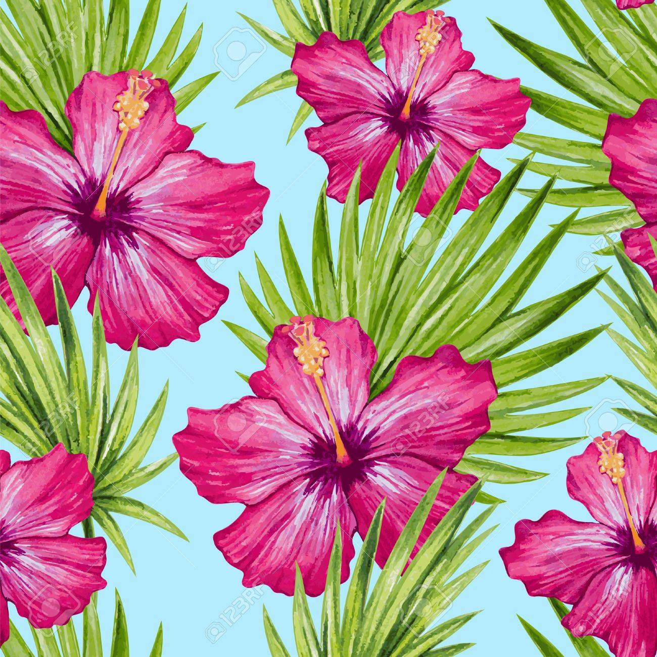 Watercolor hibiscus flower and palm leaves seamless pattern. Vector illustration. - 43273977