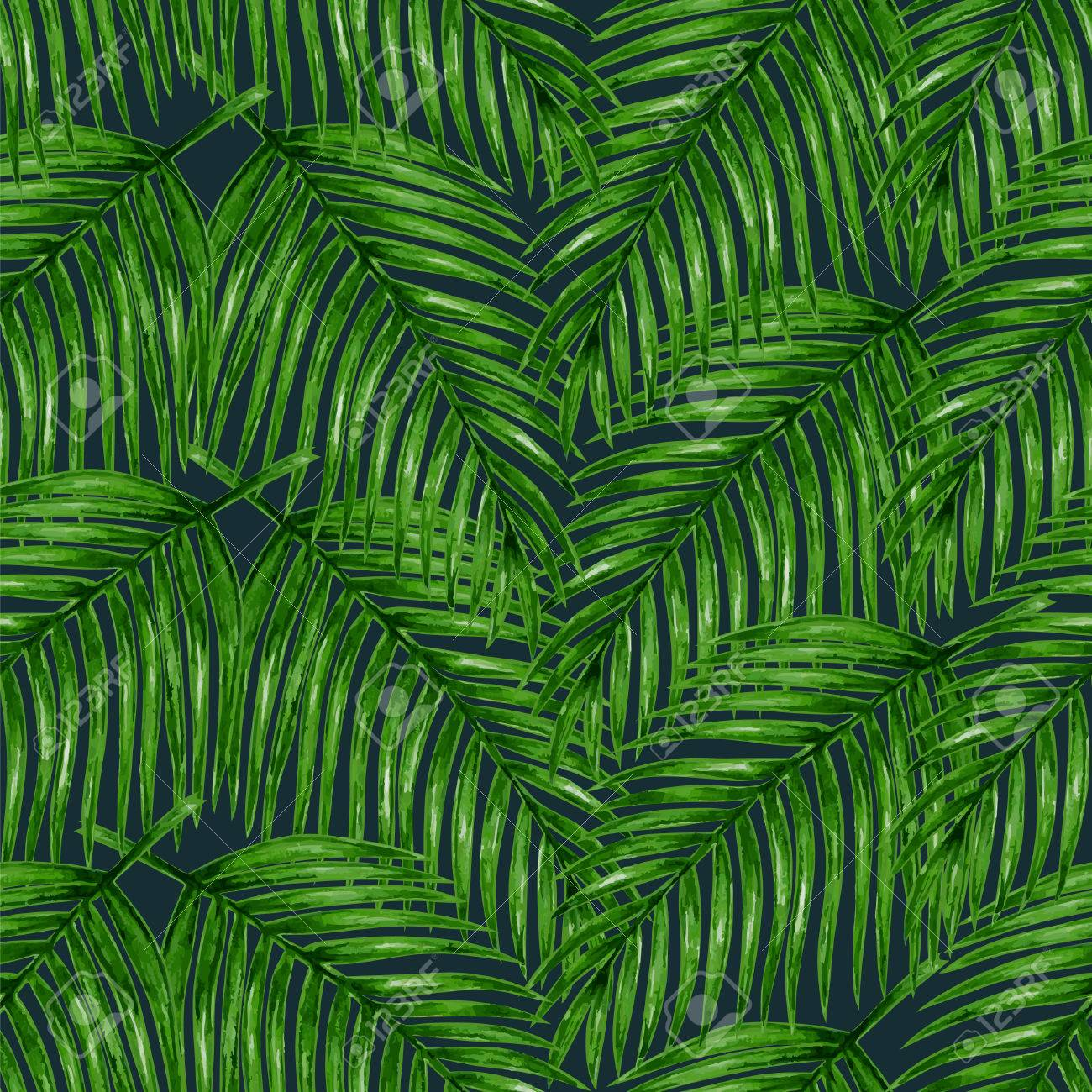 Watercolor tropical palm leaves seamless pattern. Vector illustration. - 43872024