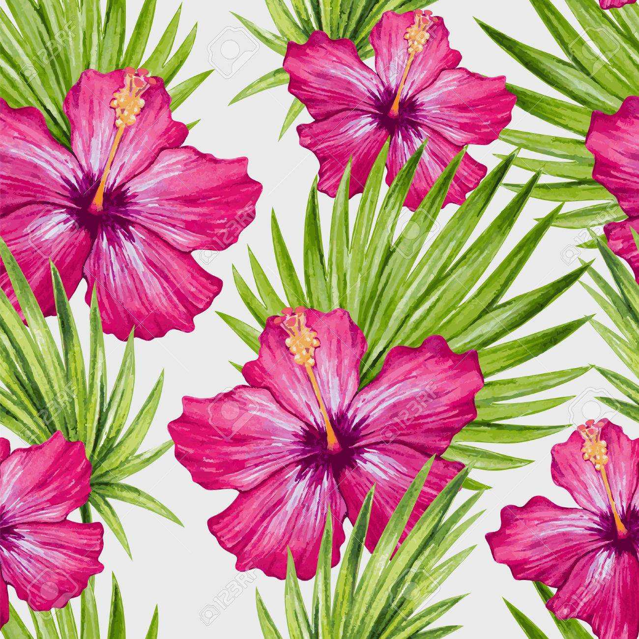 Watercolor hibiscus flower and palm leaves seamless pattern vector watercolor hibiscus flower and palm leaves seamless pattern vector illustration izmirmasajfo