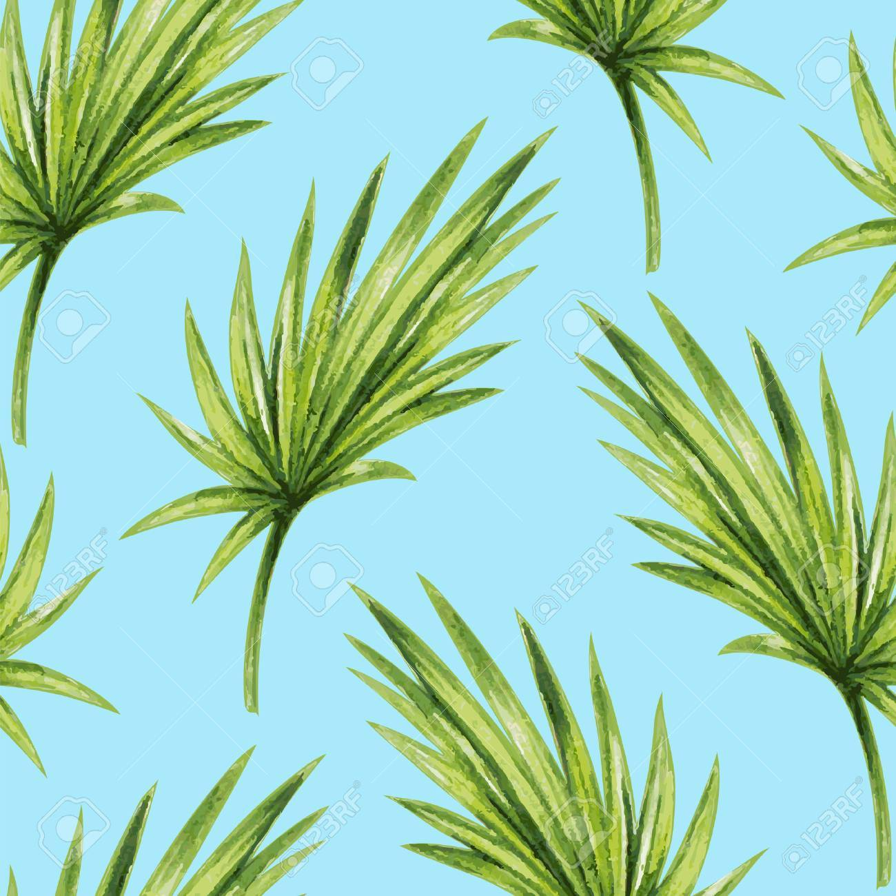 Watercolor tropical palm leaves seamless pattern - 45007991
