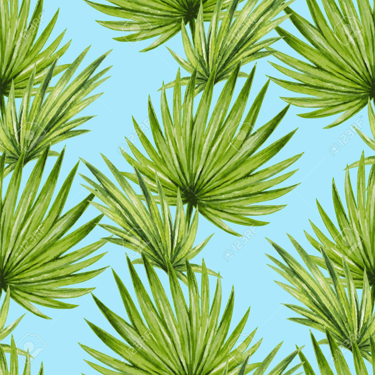 Watercolor tropical palm leaves seamless pattern - 45007992