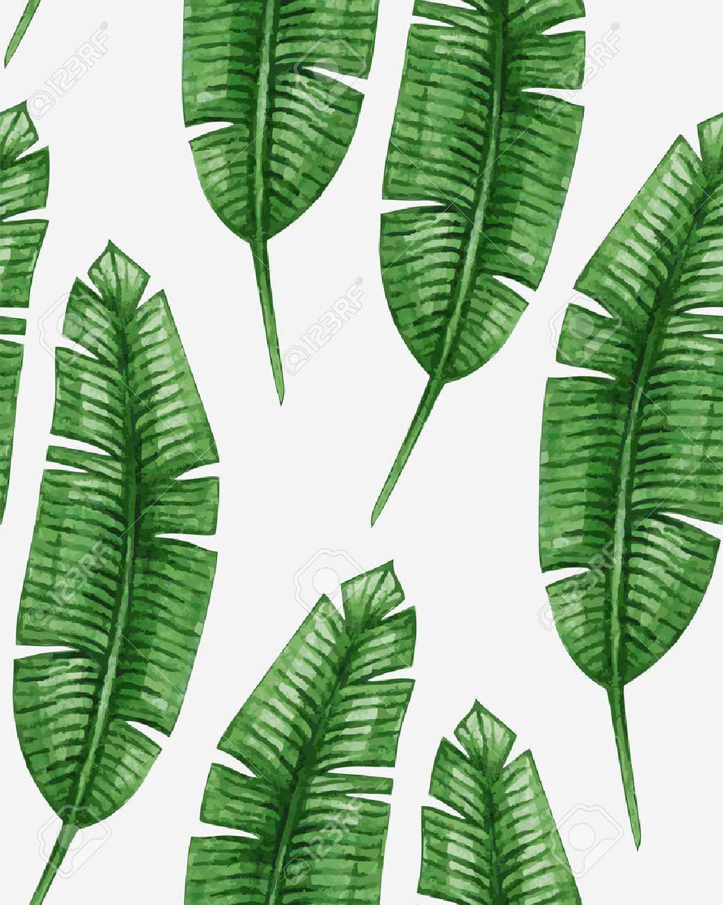 Watercolor tropical palm leaves seamless pattern - 45008019