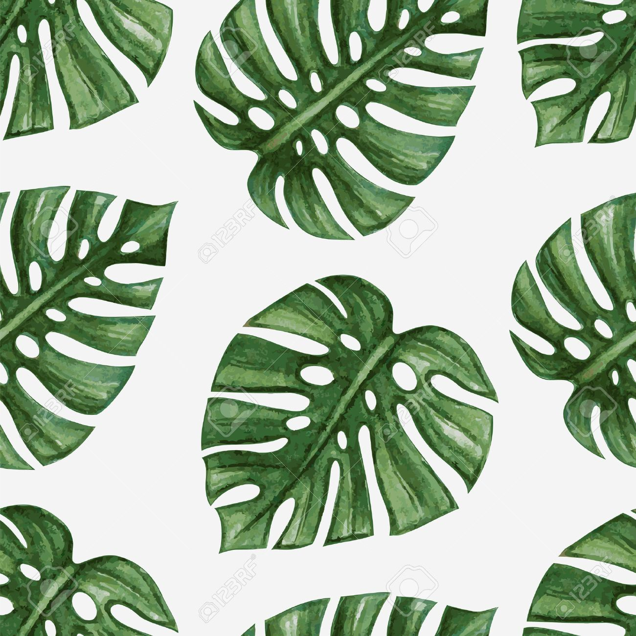 Watercolor Tropical Palm Leaves Seamless Pattern