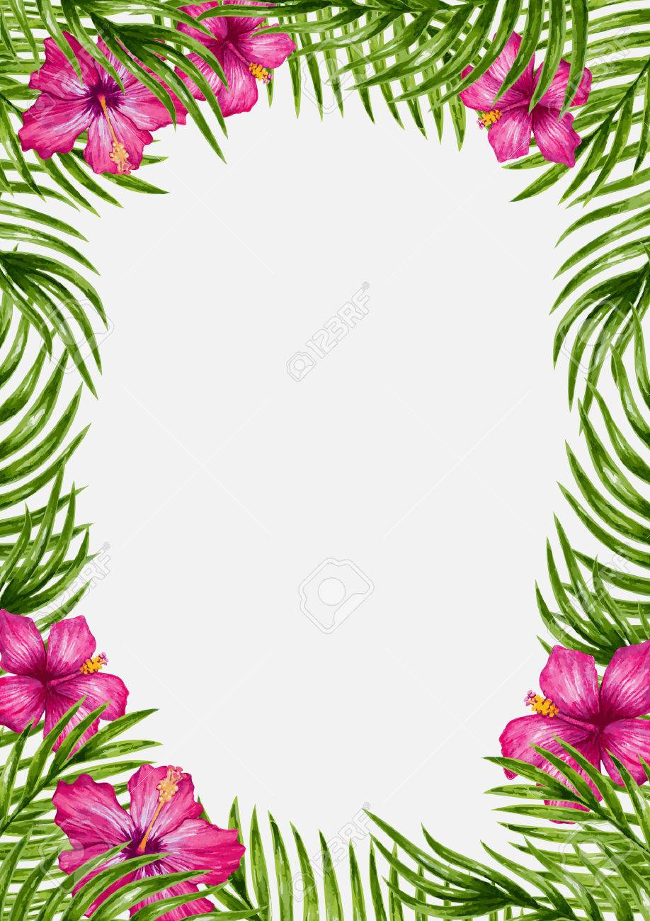 Palm leaves and tropical flower background. Tropical greeting card. - 45008593