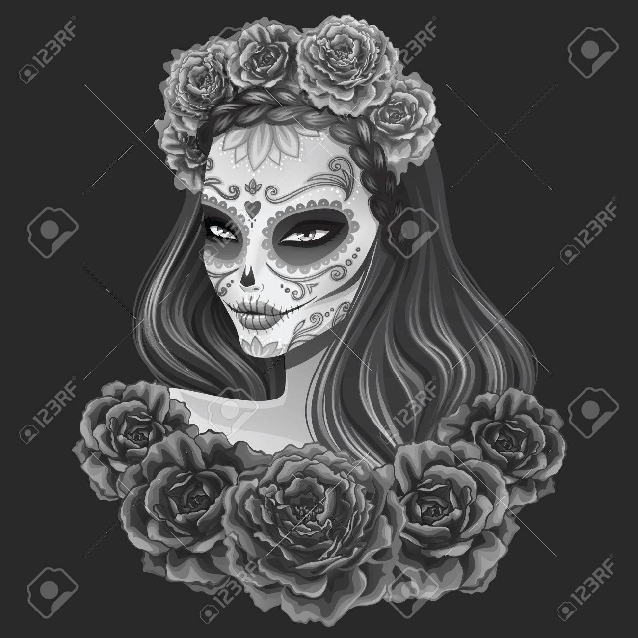 Beautiful sugar skull woman illustration. Day of dead vector illustration. - 52547413
