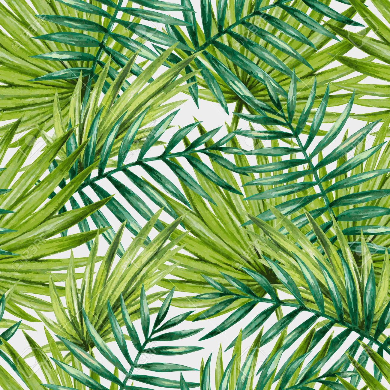 Watercolor tropical palm leaves seamless pattern. Vector illustration. - 52548311
