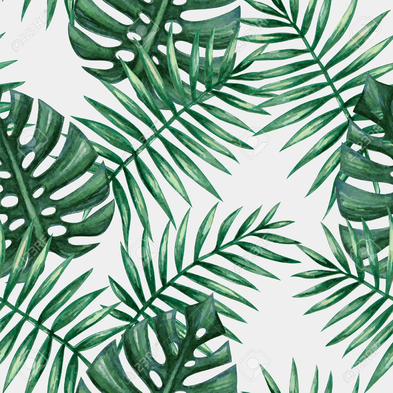 Watercolor tropical palm leaves seamless pattern. Vector illustration. - 52548317