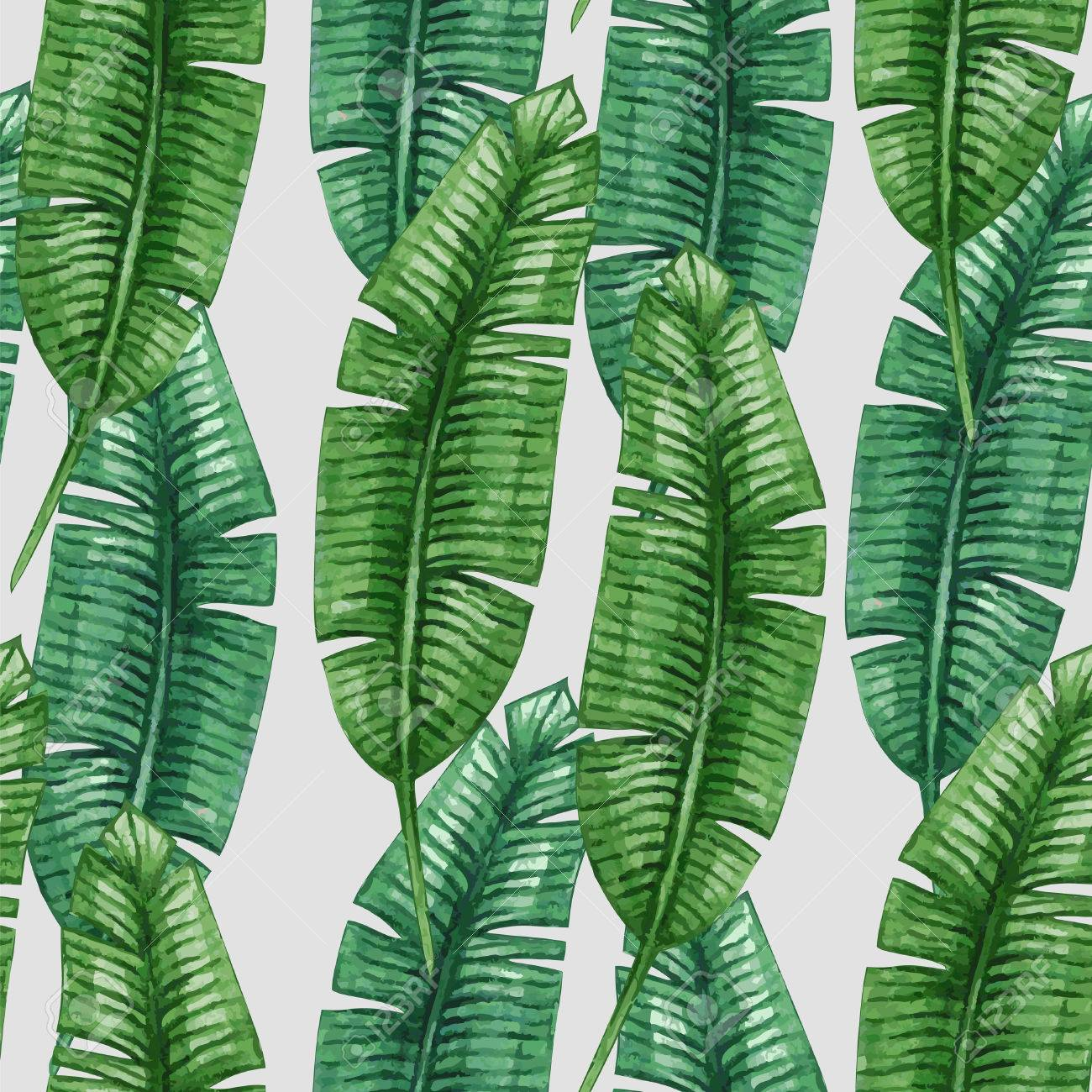 Watercolor tropical palm leaves seamless pattern. Vector illustration. - 52548316