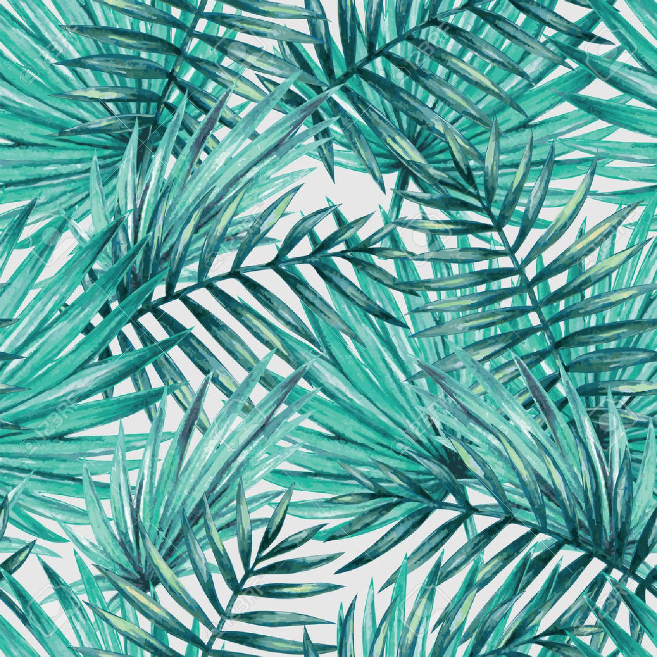 Watercolor tropical palm leaves seamless pattern - 53981487