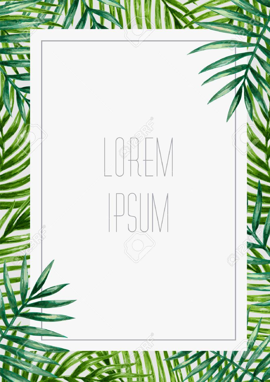 Palm leaves background. Tropical greeting card. - 53981483