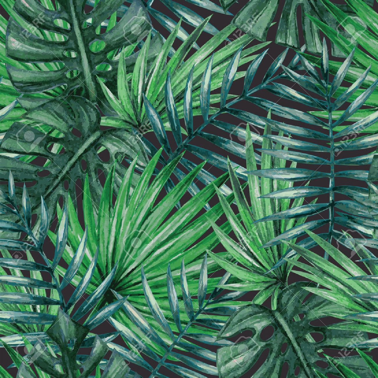 Watercolor tropical palm leaves seamless pattern - 53981481