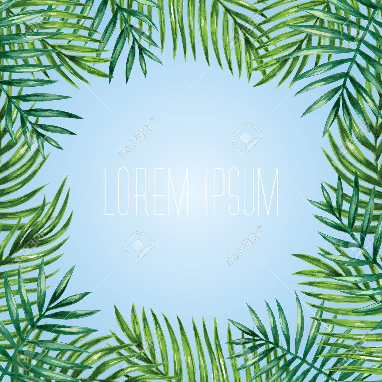 Palm leaves background. Tropical greeting card. - 53981489