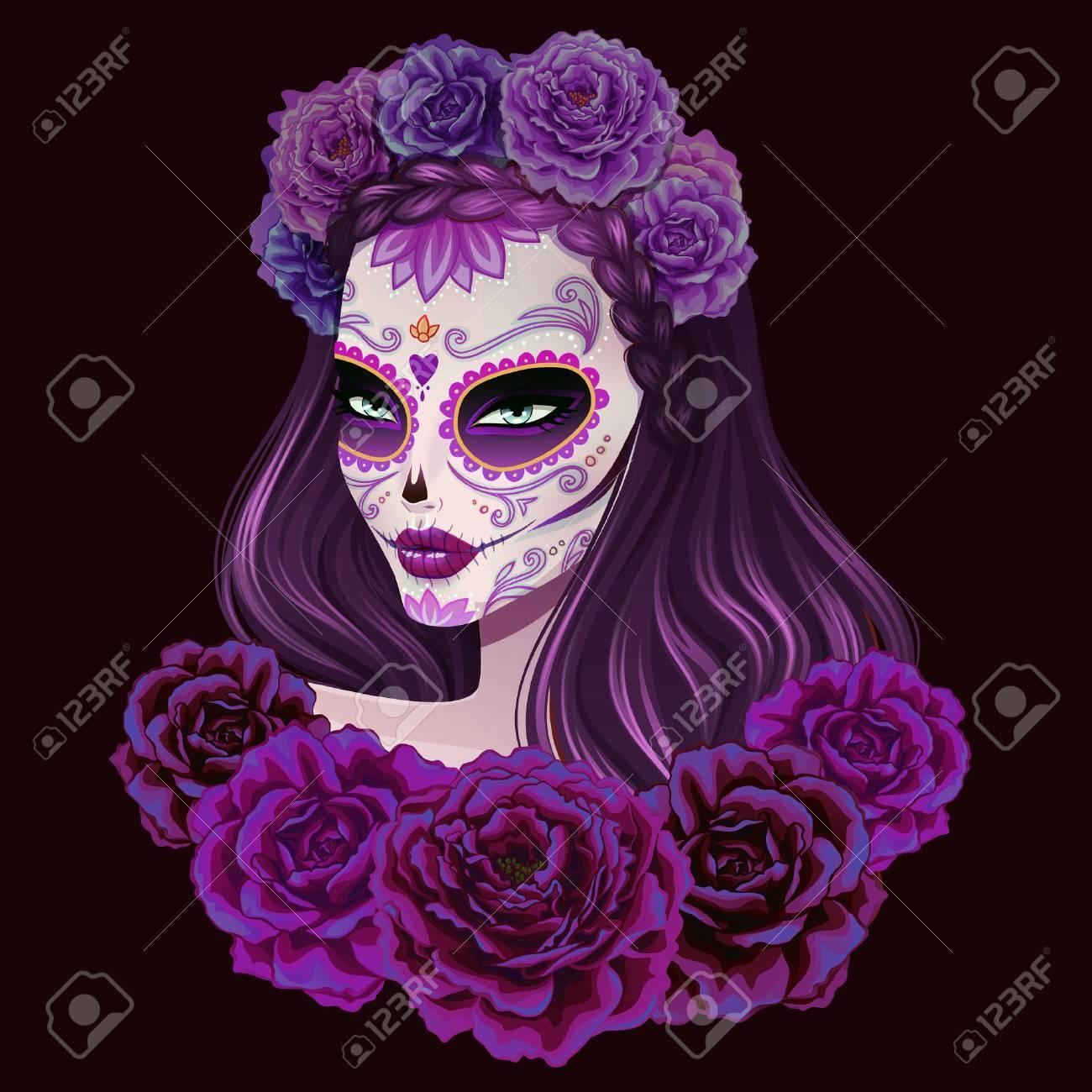 Beautiful sugar skull woman illustration. Day of dead vector illustration. - 53981491