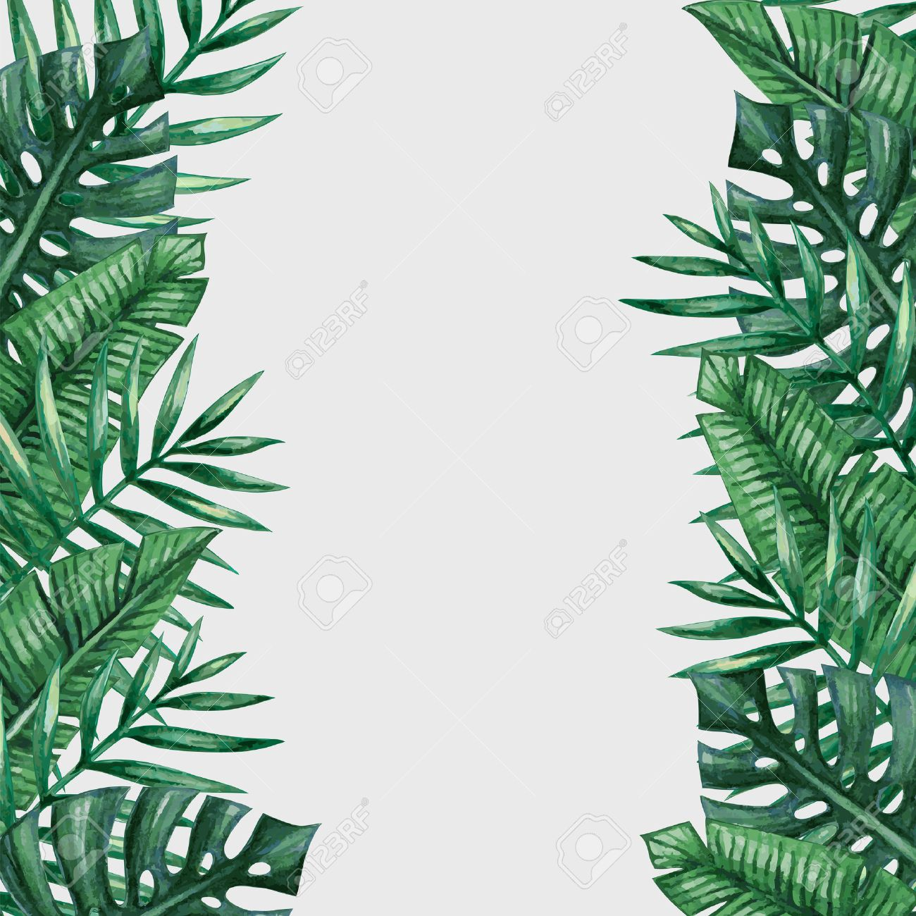 Palm Tree Leaves Background Template Tropical Greeting Card Royalty Free Cliparts Vectors And Stock Illustration Image 55951766