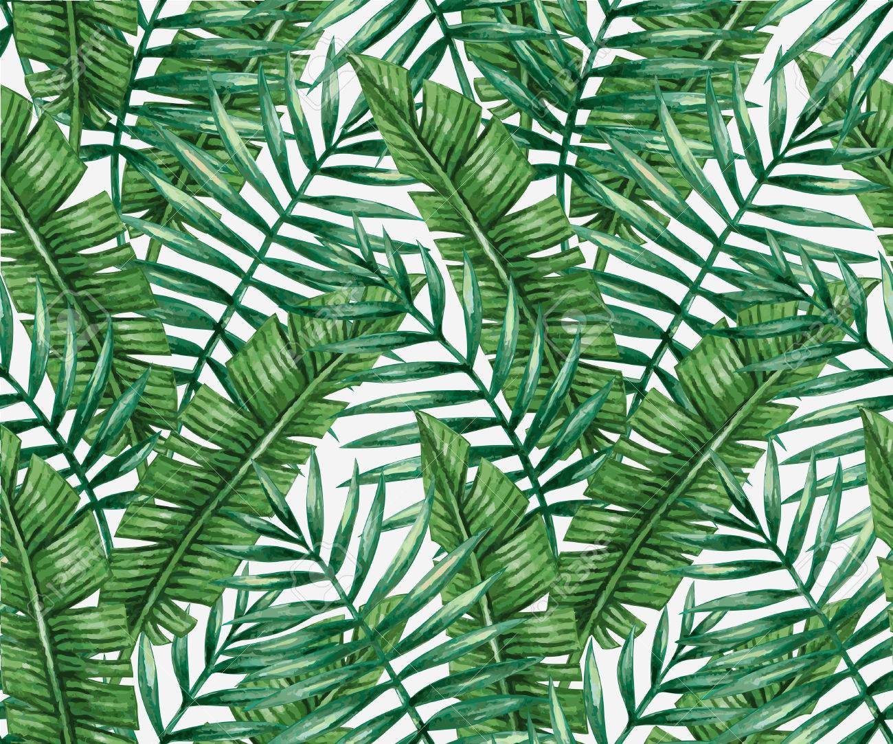 Watercolor tropical palm leaves seamless pattern. - 55951756