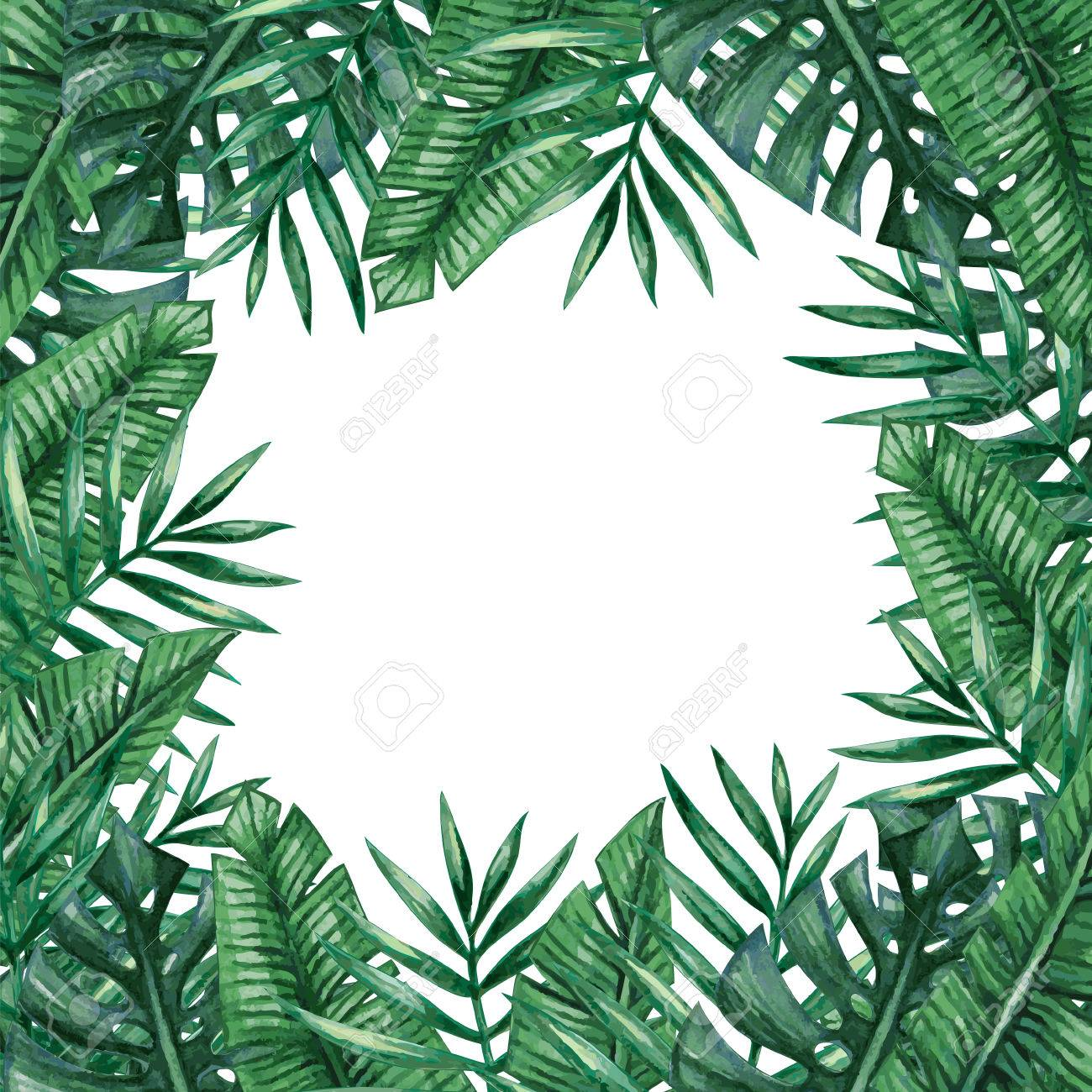 palm tree leaves background template tropical greeting card