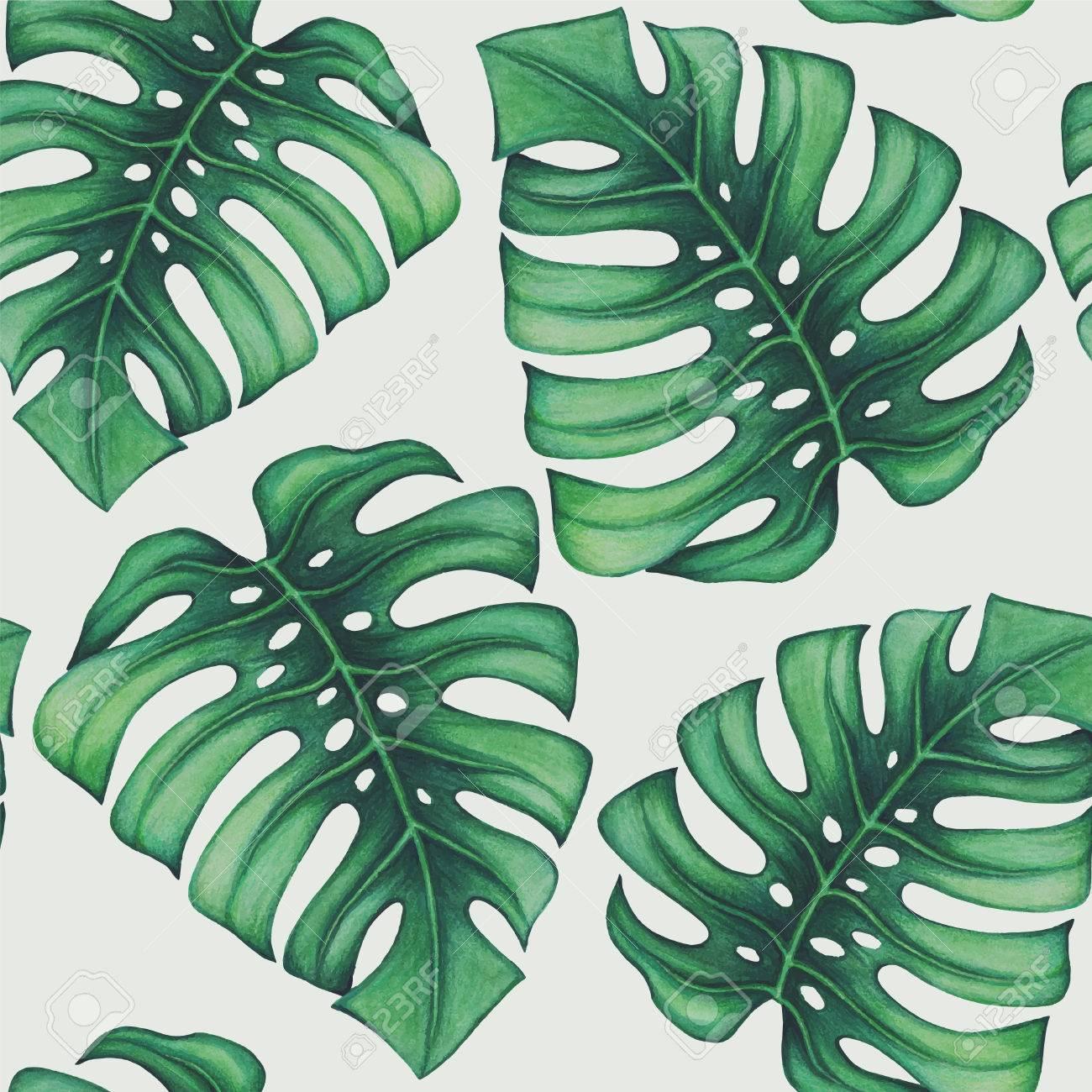 Aquarell Tropische Palmen Blatter Nahtlose Muster Lizenzfreie Fotos