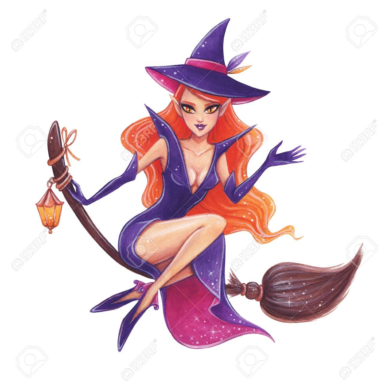 ハロウィーンの手描きイラストかわいい魔女ほうき の写真素材画像