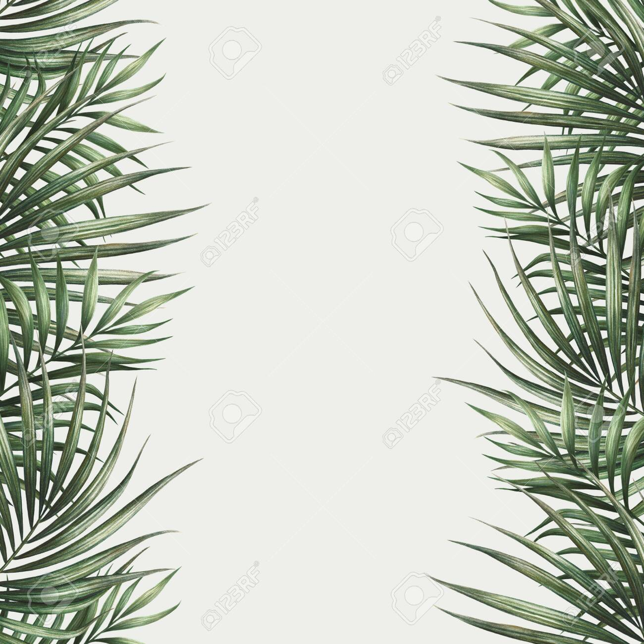 Palm leaves border design. Tropical watercolor background. Palm tree leaves greeting card or wedding invitation. Tropical frame decoration. - 142106259