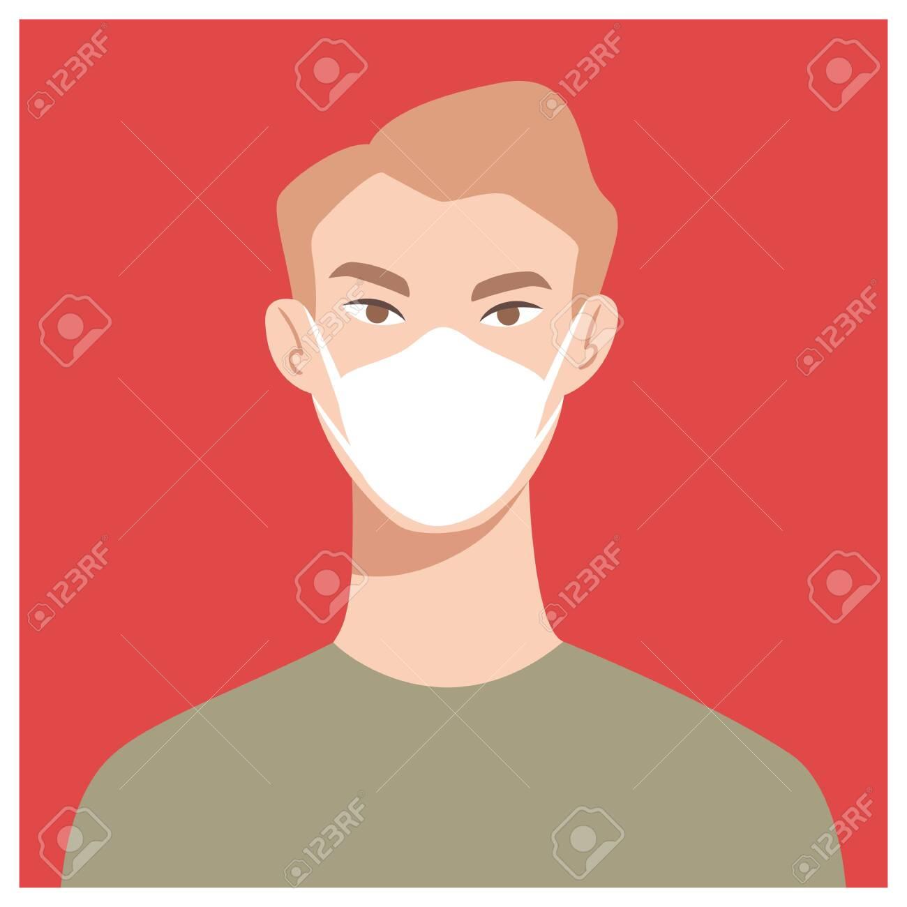 Man in white medical face mask. Coronavirus in World. Concept of coronavirus quarantine. COVID-19 2019-nCoV - 142106268