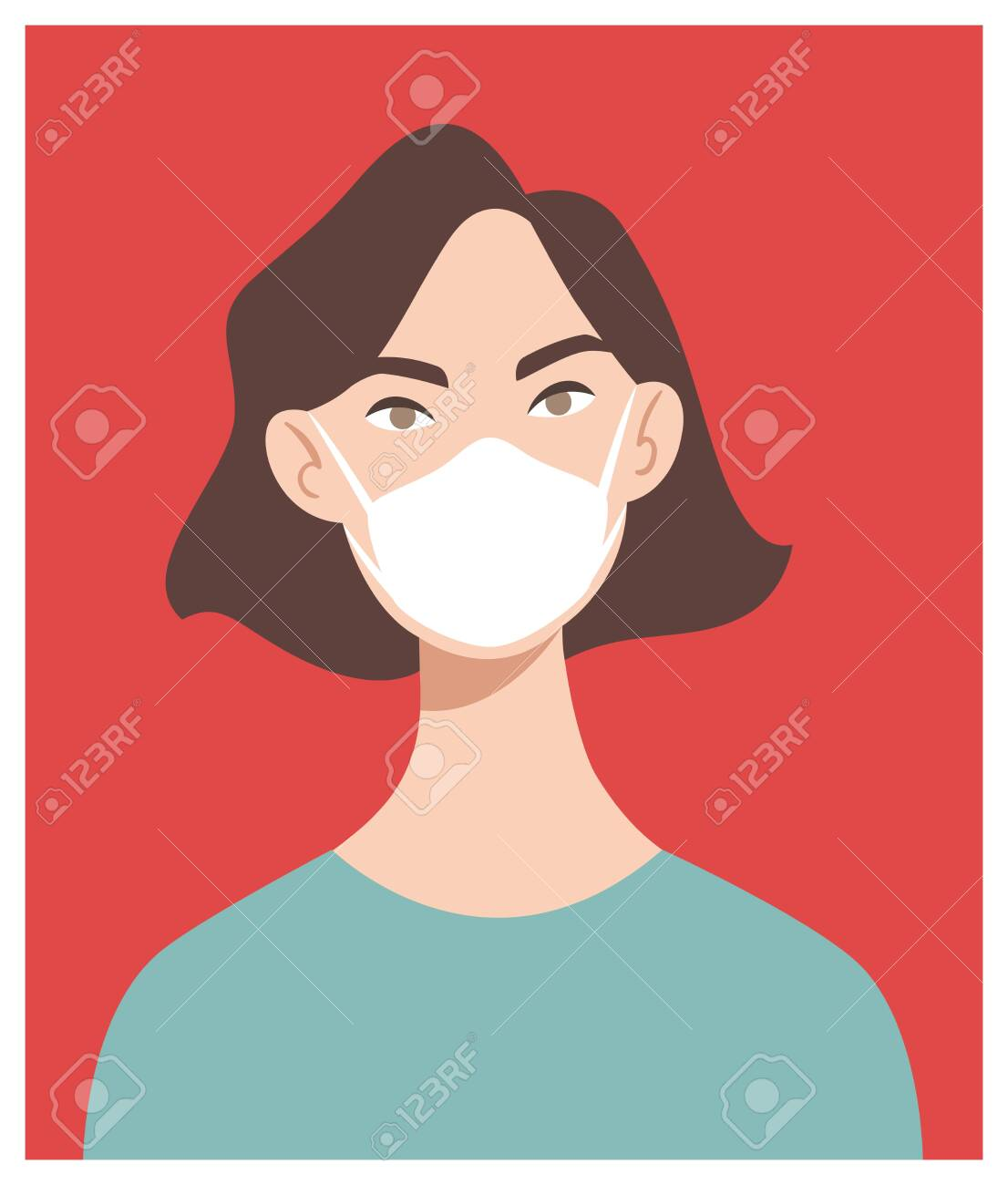 Woman in white medical face mask. Coronavirus in World. Concept of coronavirus quarantine. COVID-19 2019-nCoV - 142106281