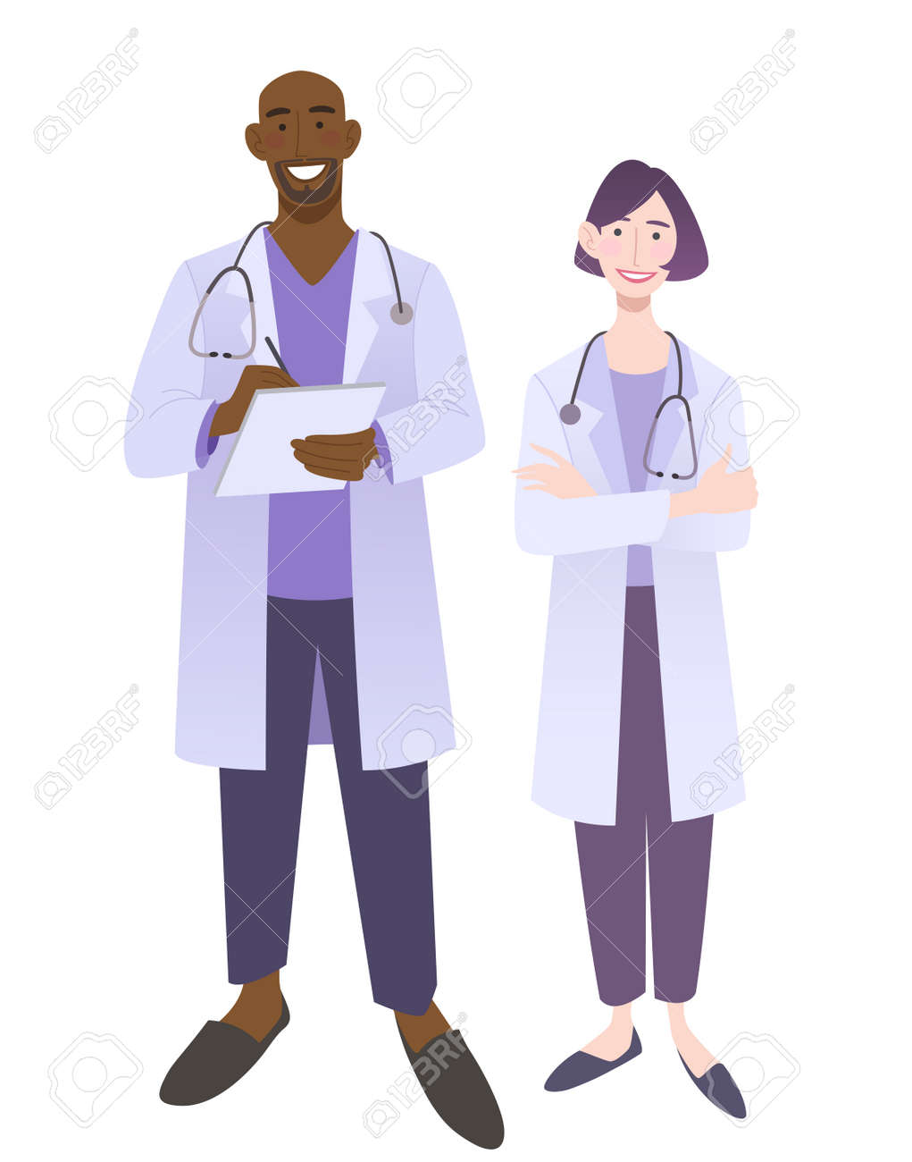 Friendly doctors in medical uniform. Smiling man and woman physicians. Friendly therapist and nurse. Isolated on white vector illustration. - 164624864