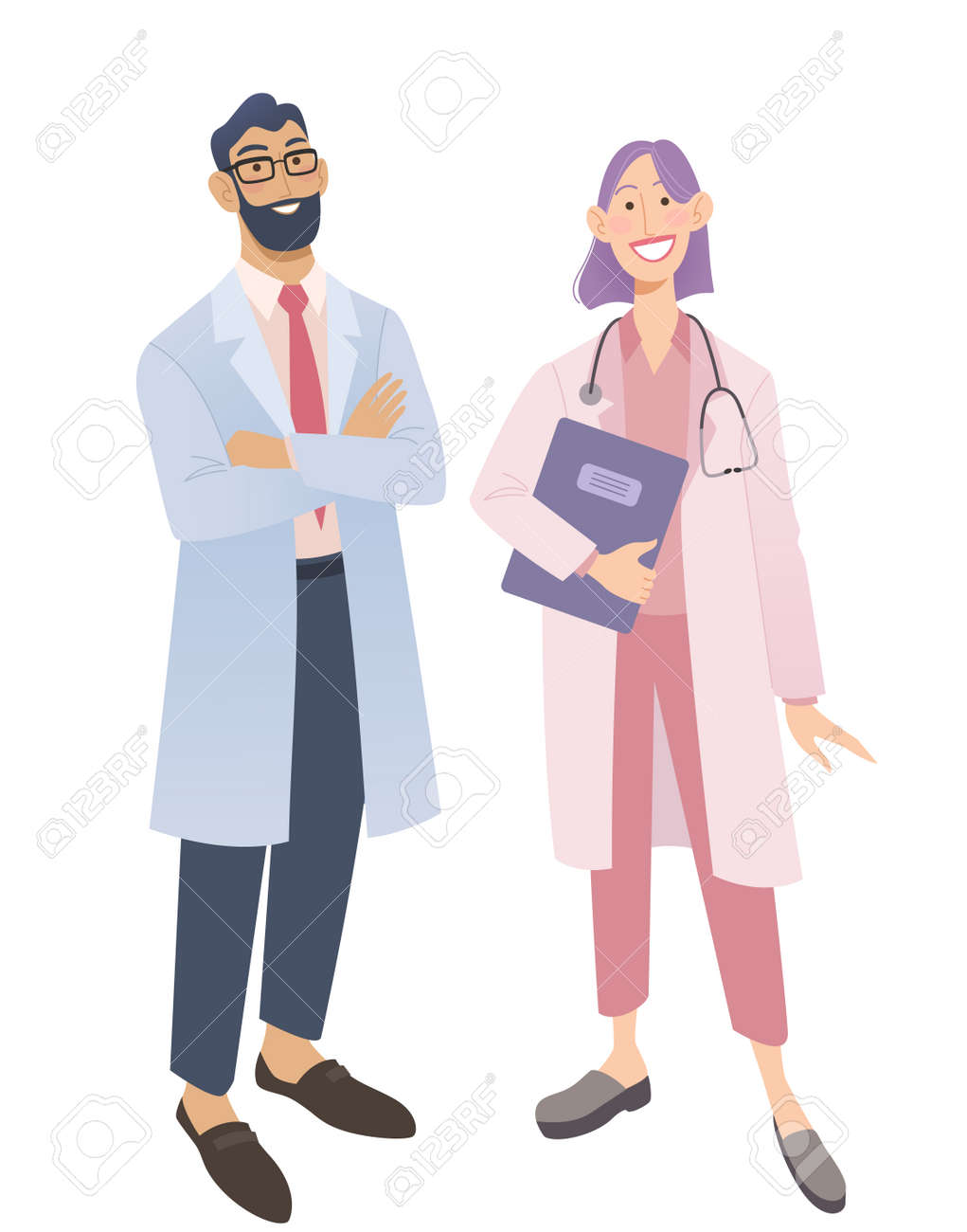 Friendly doctors in medical uniform. Smiling man and woman physicians. Friendly therapist and nurse. Isolated on white vector illustration. - 164624866