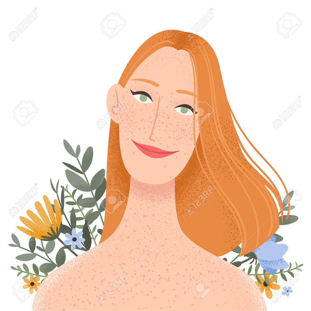 Beauty female portrait decorated with flowers. Elegant woman avatar with floral background. Vector illustration - 164624868