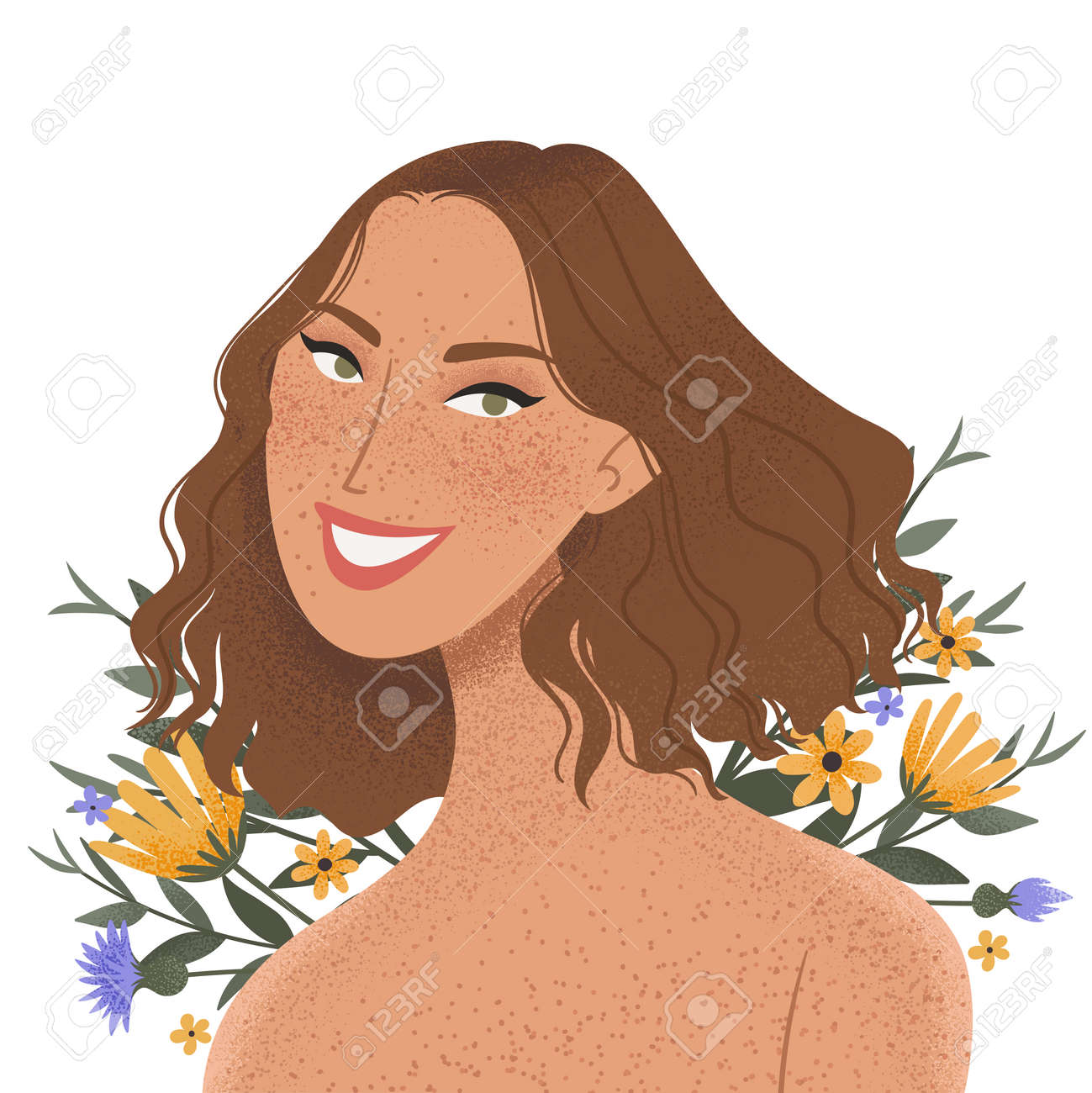 Beauty female portrait decorated with flowers. Elegant woman avatar with floral background. Vector illustration - 164624867