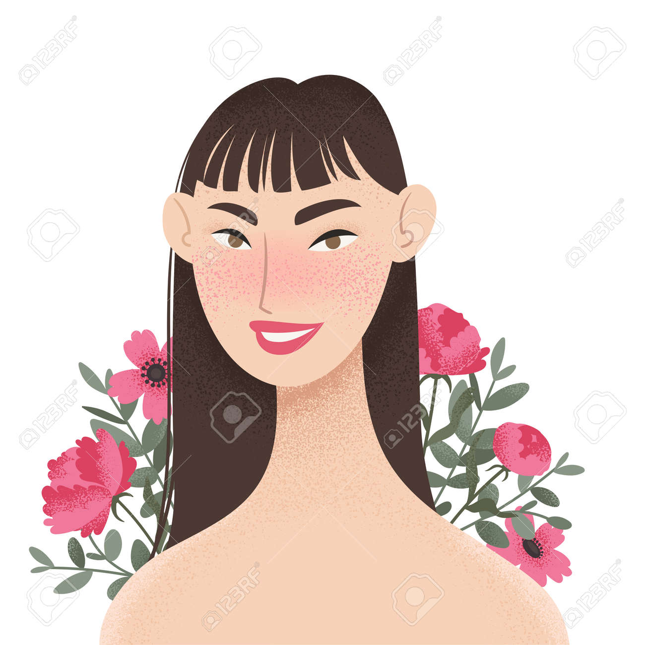 Beauty female portrait decorated with pink peonies flowers. Elegant Asian woman avatar with floral background. Vector illustration - 164624872