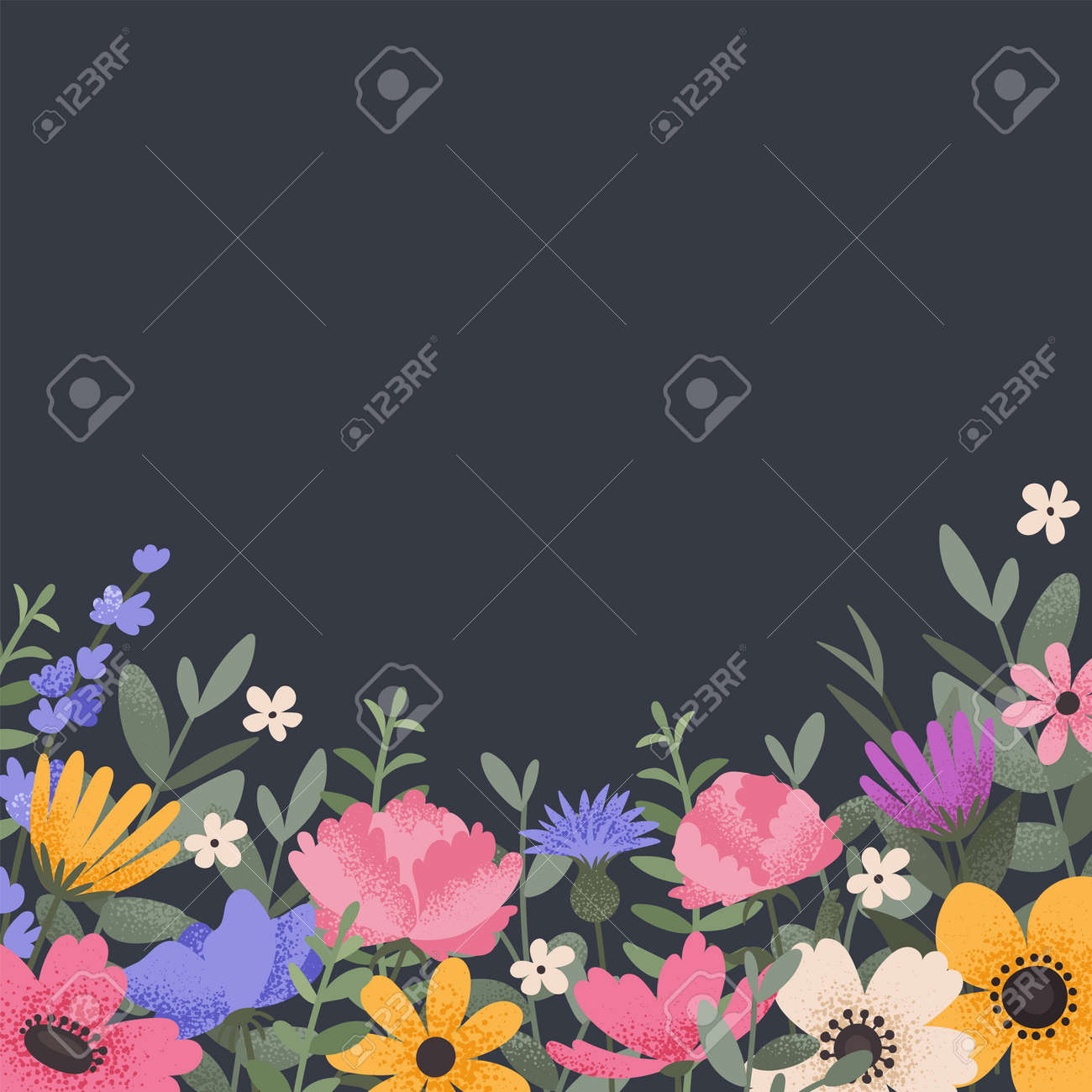 Floral background design with summer flowers. Greeting card with place for text. Template for invitation card with beautiful peonies and anemone flowers. Vector illustration - 164590477