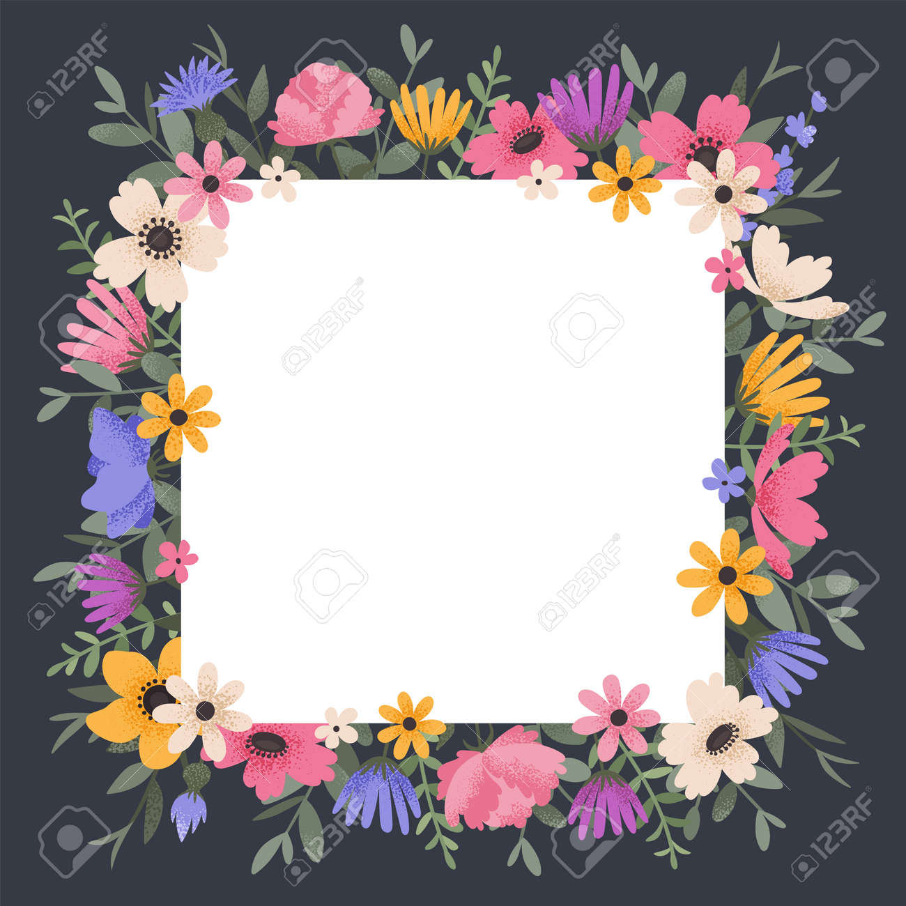 Floral background design with summer flowers. Greeting card with place for text. Template for invitation card with beautiful peonies and anemone flowers. Vector illustration - 164593072