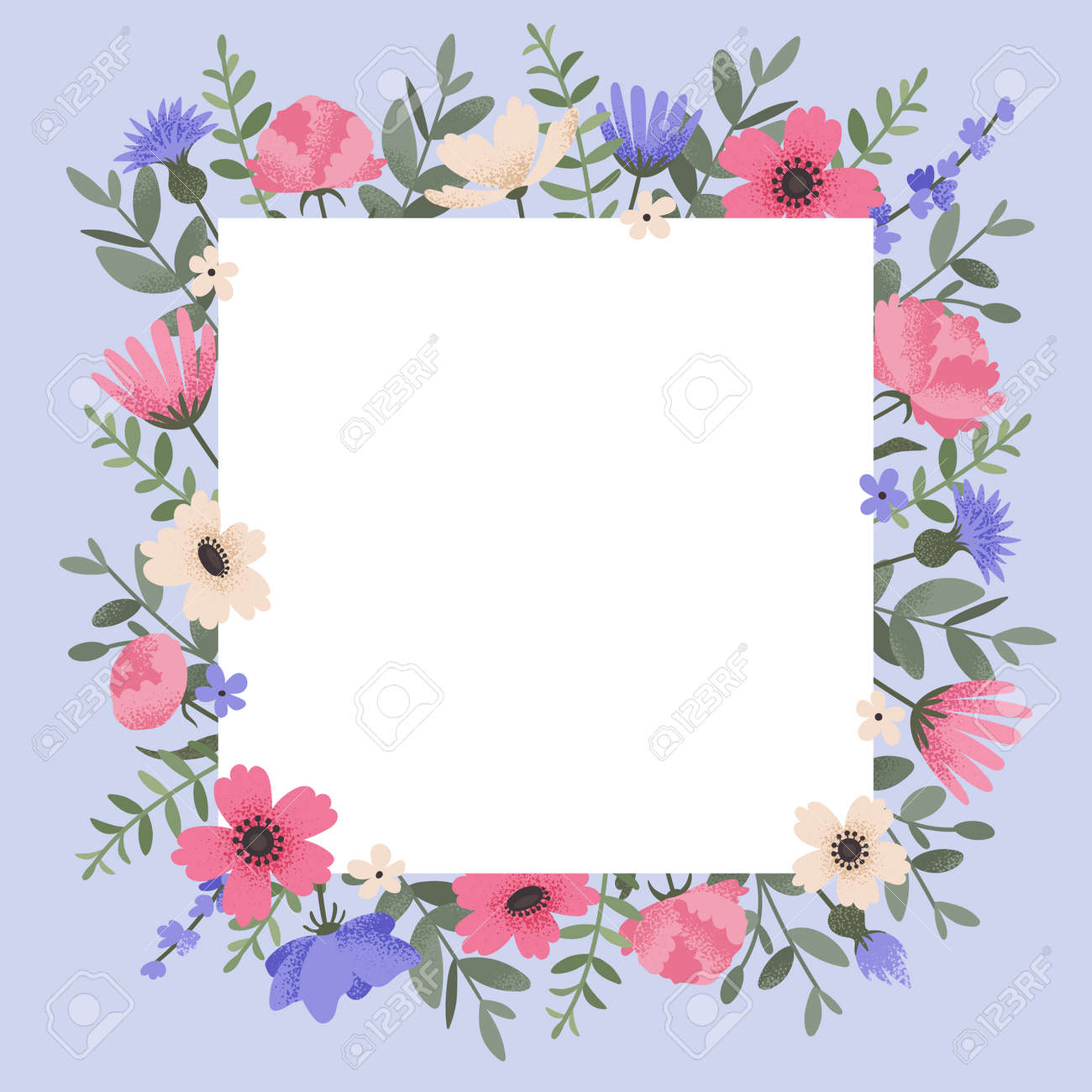 Floral background design with summer flowers. Greeting card with place for text. Template for invitation card with beautiful peonies and anemone flowers. Vector illustration - 164593147