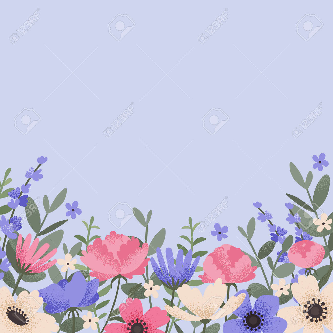 Floral background design with summer flowers. Greeting card with place for text. Template for invitation card with beautiful peonies and anemone flowers. Vector illustration - 164590709