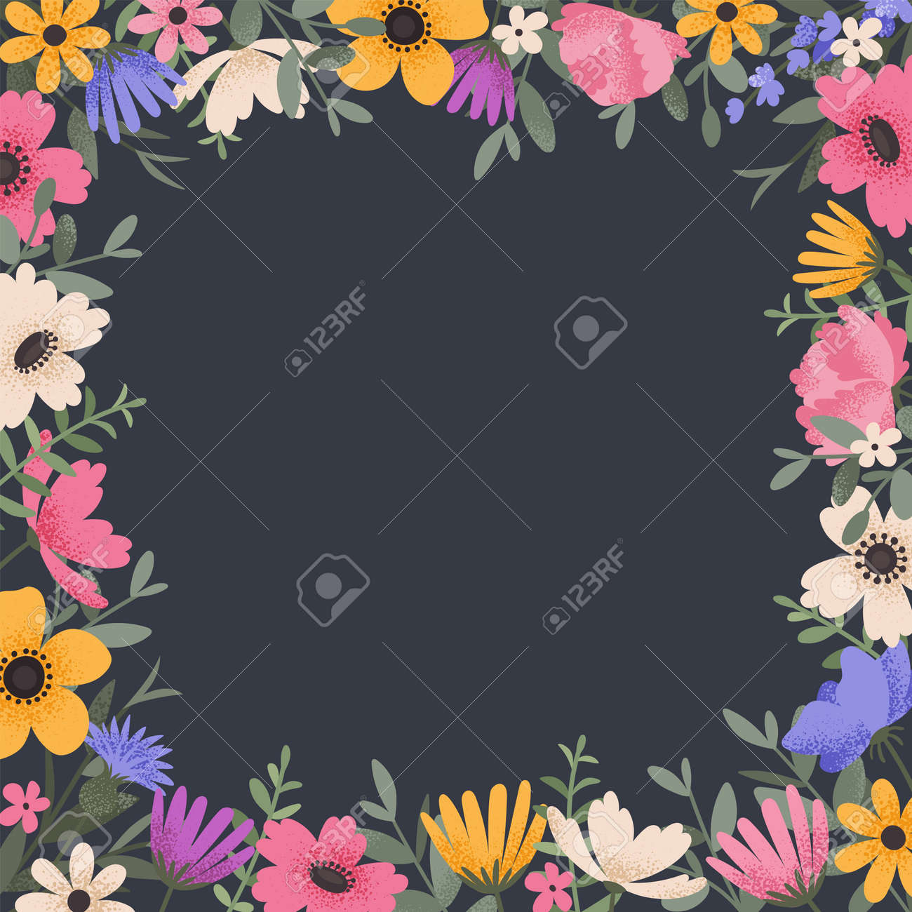 Floral background design with summer flowers. Greeting card with place for text. Template for invitation card with beautiful peonies and anemone flowers. Vector illustration - 164590607