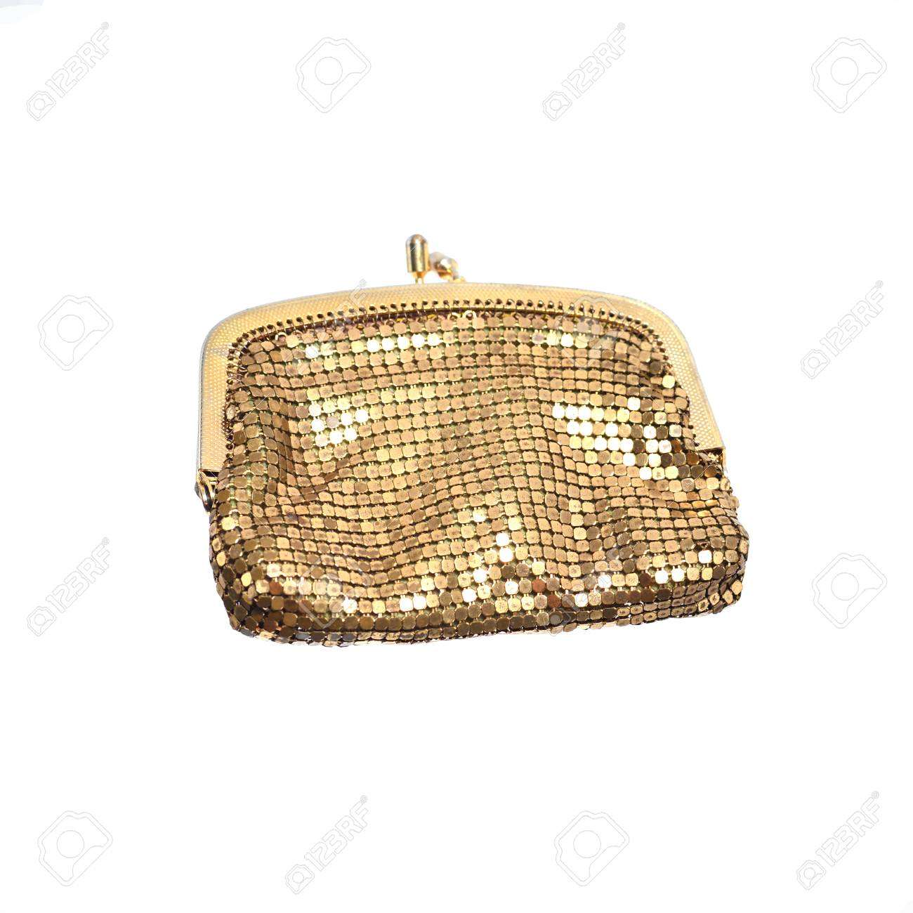 Golden Coin Purse Isolated On White Stock