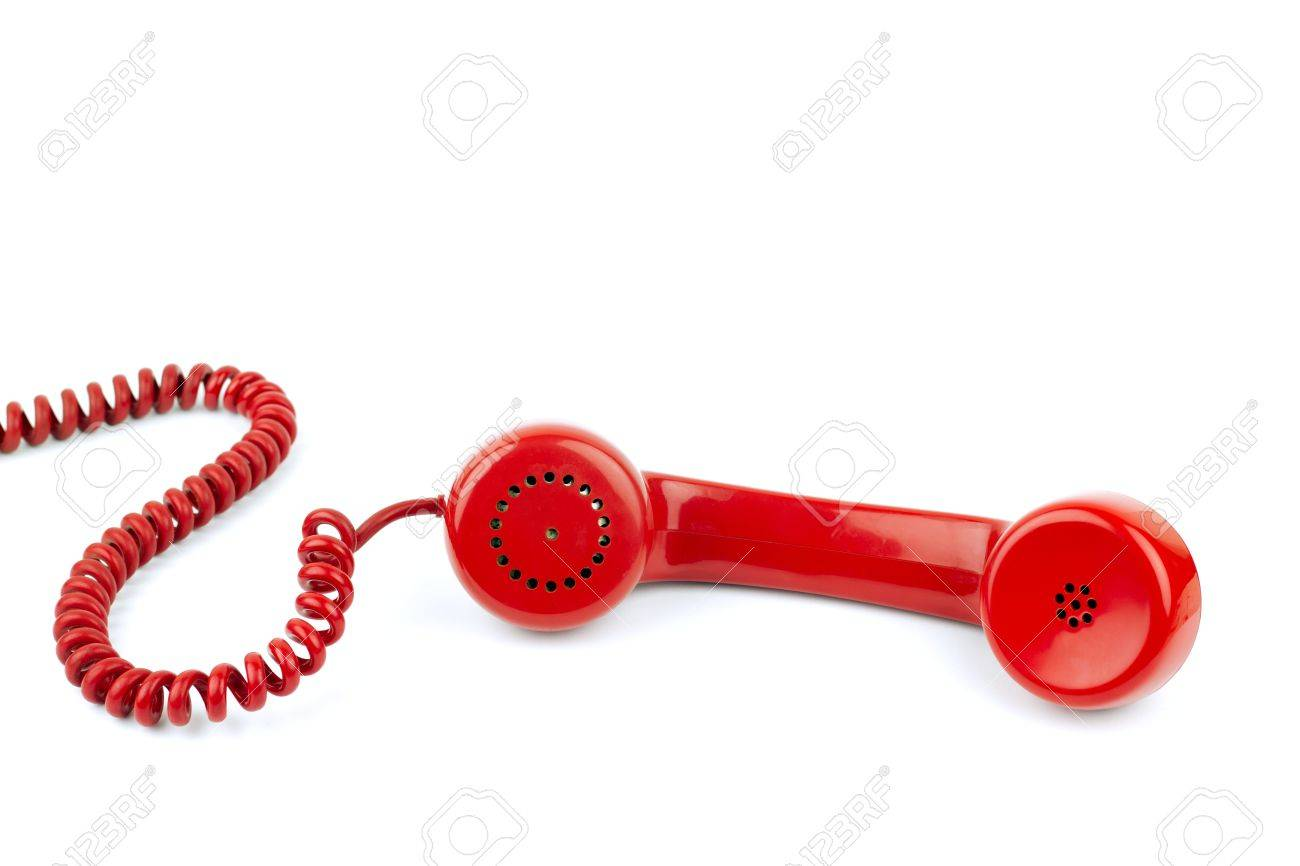 Telephone receiver and cord, isolated on white background Stock Photo - 9629643